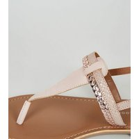 Wide Fit Nude Leather Faux Snake Strap Flat Sandals New Look