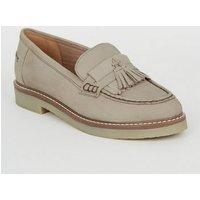Grey Suede Tassel Trim Loafers New Look