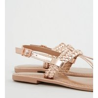Rose Gold Leather Plait Strap Sandals New Look