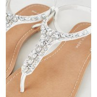 Wide Fit White Leather-Look Beaded Sandals New Look