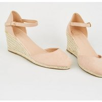Wide Fit Nude Suedette Espadrille Wedges New Look