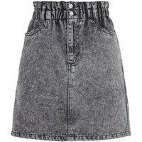 Black Acid Wash Paperbag Denim Skirt New Look