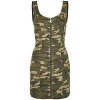 Green Camo Zip Front Denim Bodycon Dress New Look