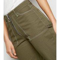 Khaki Contrast Stitch Wide Leg Jeans New Look