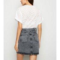 Black Acid Wash Denim Mom Skirt New Look