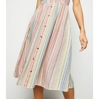 White Stripe Linen Blend Button Midi Dress New Look