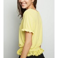 Yellow Broderie Milkmaid Crop Top New Look