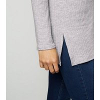 Grey Ribbed Funnel Neck Jumper New Look