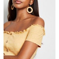 Yellow Ribbed Button Front Bardot Top New Look