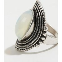 Silver Moonstone Style Oval Ring New Look