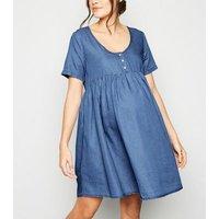 Maternity Blue Denim Button Up Smock Dress New Look