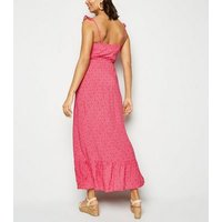 Pink Floral Button Up Frill Maxi Dress New Look