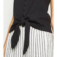 Black Cheesecloth Button Tie Front Cami New Look