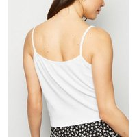 White Lightweight Button Front Tie Front Cami New Look