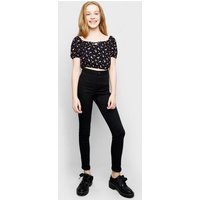 Girls Black Floral Lattice Front Milkmaid Top New Look