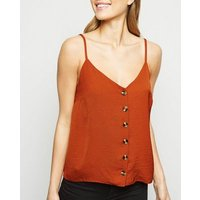 Rust Faux Horn Button Front Cami New Look