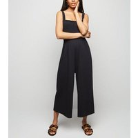 Petite Black Shirred Top Jersey Jumpsuit New Look