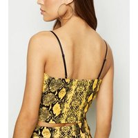 Cameo Rose Yellow Snake Print Crop Top New Look