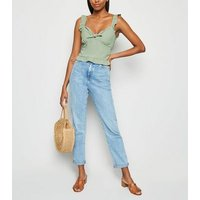 Mint Green Frill Tie Front Cami New Look