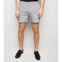 Men's Pale Grey Pique Shorts New Look