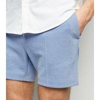 Men's Pale Blue Pique Shorts New Look