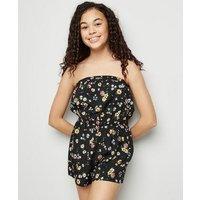 Girls Black Floral Bandeau Playsuit New Look