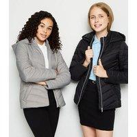 Girls Grey Hooded Puffer Jacket New Look