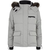 Petite Pale Grey Faux Fur Trim Puffer Jacket New Look
