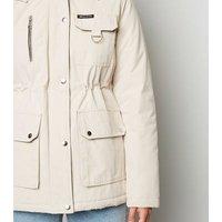 Tall Stone Faux Fur Trim Parka Jacket New Look
