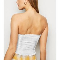 Off White Shirred Bandeau Top New Look