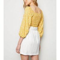 White Linen Blend High Waist Mini Skirt New Look