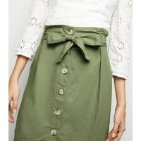 Olive Linen Blend Paperbag Mini Skirt New Look