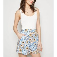 Blue Tropical Floral Wide Leg Shorts New Look