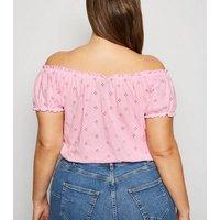 Curves Mid Pink Broderie Milkmaid Top New Look