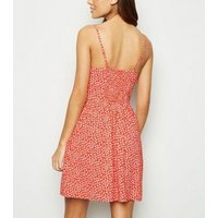 Red Floral Bustier Sundress New Look