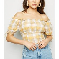 Mustard Check Linen Blend Milkmaid Top New Look