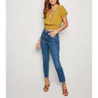 Yellow Shirred Waist Button Up Crop Blouse New Look