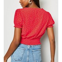 Red Spot Shirred Waist Blouse New Look