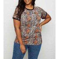 Curves Black Snake Print Ringer T-Shirt New Look