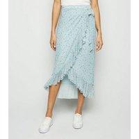Blue Floral Mesh Frill Wrap Midi Skirt New Look