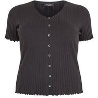 Curves Black Button Front Frill Trim Top New Look