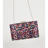 Red Floral Print Satin Clutch Bag New Look