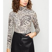 Brown Mixed Animal Print Roll Neck Top New Look