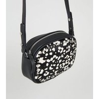 Black Leather Leopard Print Camera Bag New Look