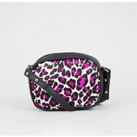 Pink Leather Leopard Print Camera Bag New Look