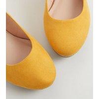 Wide Fit Mustard Suedette Cork Wedge Heels New Look Vegan