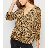 Brown Leopard Print Button Up Top New Look