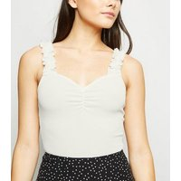 Cream Ribbed Frill Strap Bodysuit New Look