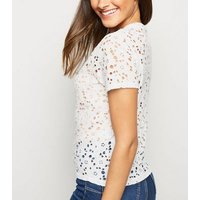 Off White Floral Lace T-Shirt New Look