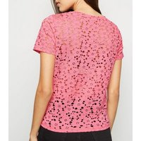 Bright Pink Floral Lace T-Shirt New Look
